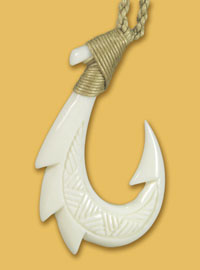 Hawaiian Bone Fish Hook Necklace